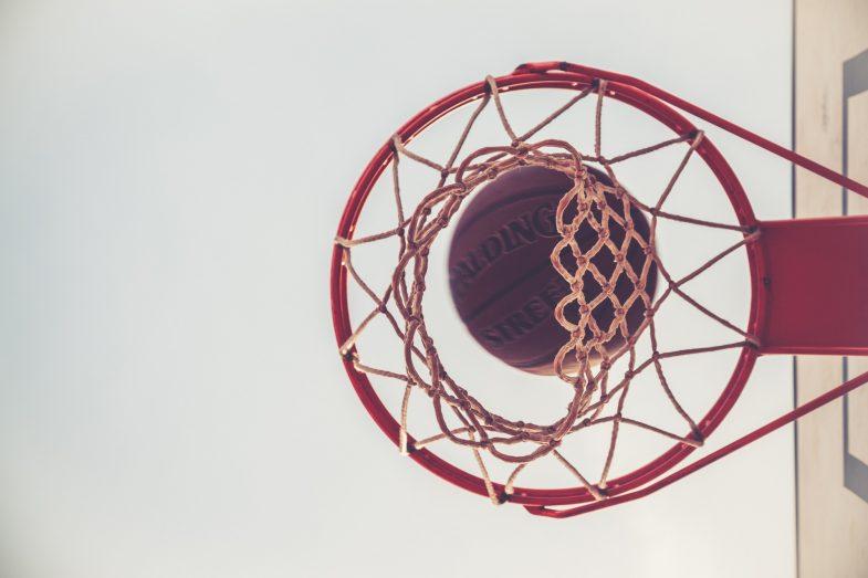 under basketball hoop
