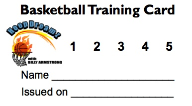 Hoop Dreamz Basketball Training Card
